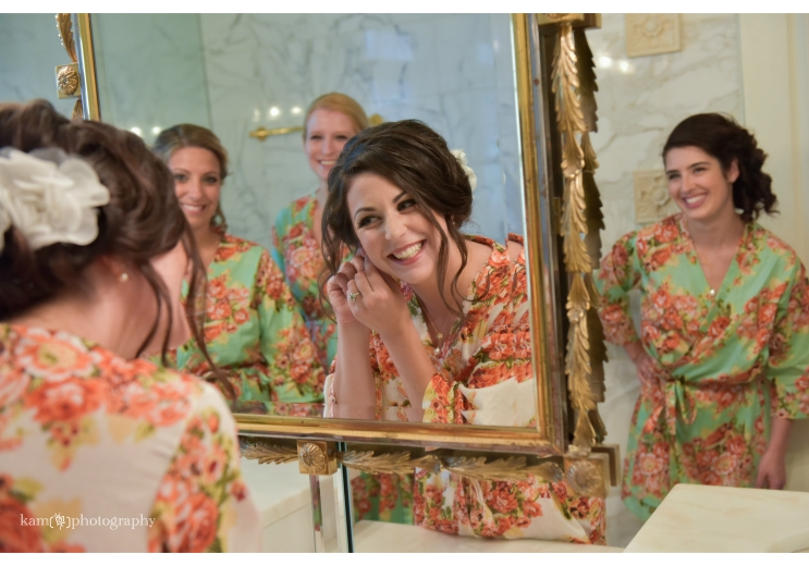 bride to be getting ready with bridesmaids