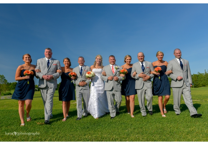 group wedding photo grey and navy