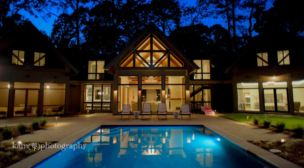 Burton Builders custom home in Delaware, exterior at night